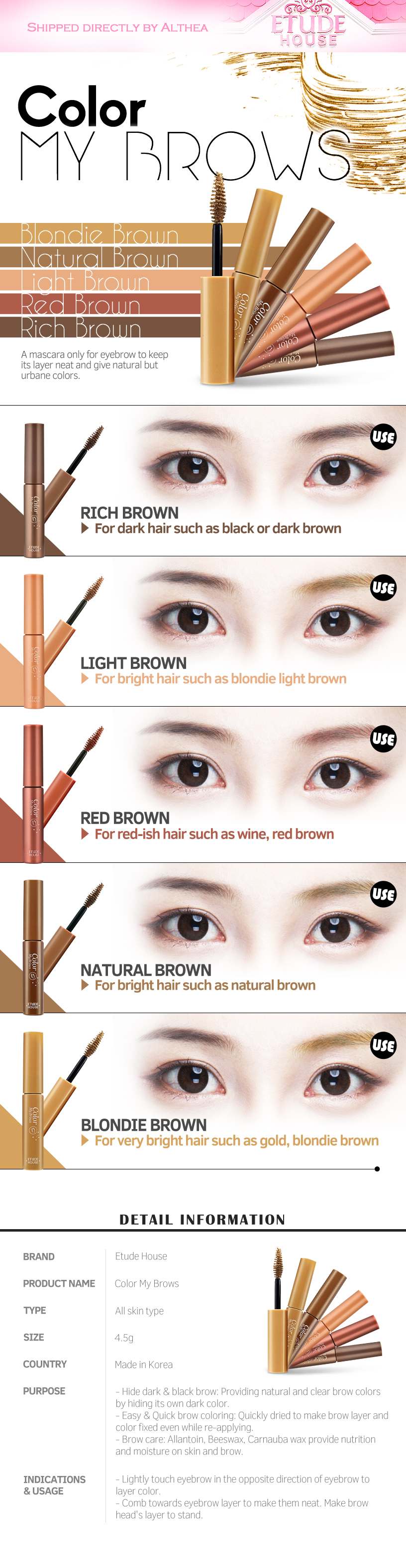 02452a54229 Buy ETUDE HOUSE Color My Brows (4.5g) at Althea Malaysia