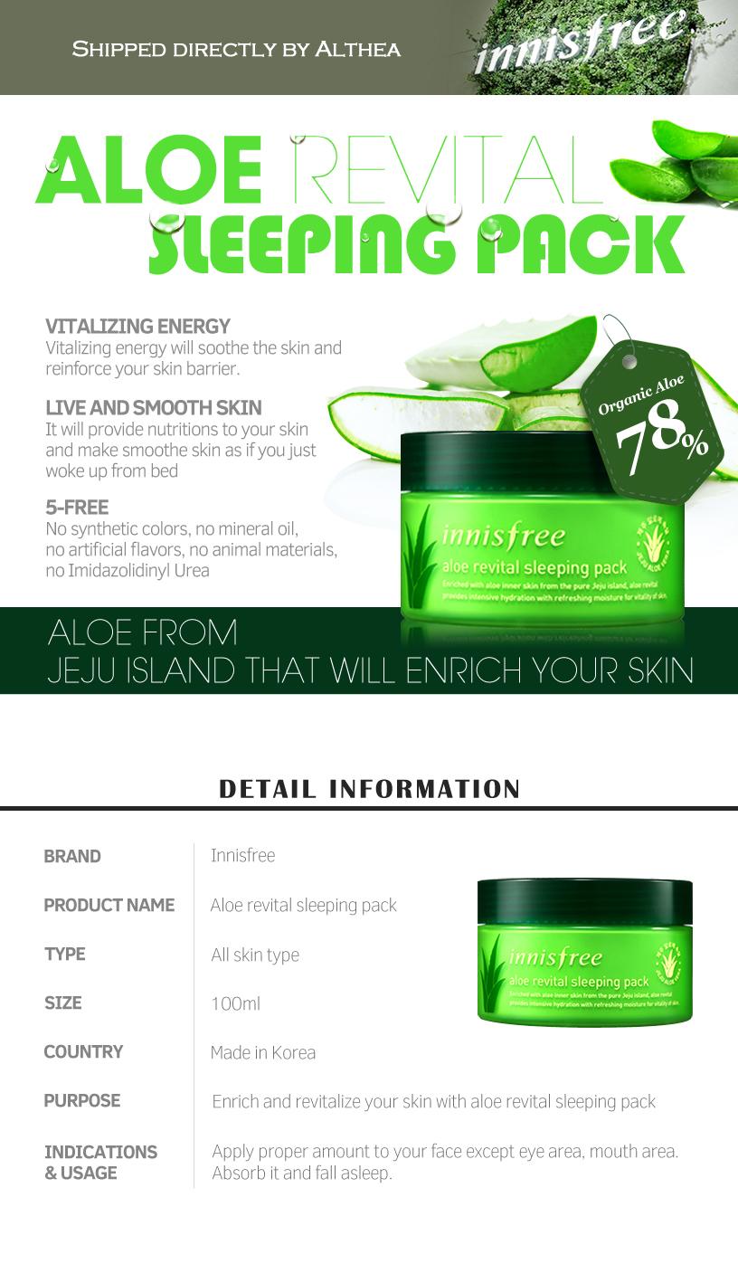 Buy Innisfree Aloe Revital Sleeping Pack 100ml At Althea Philippines Green Tea Details