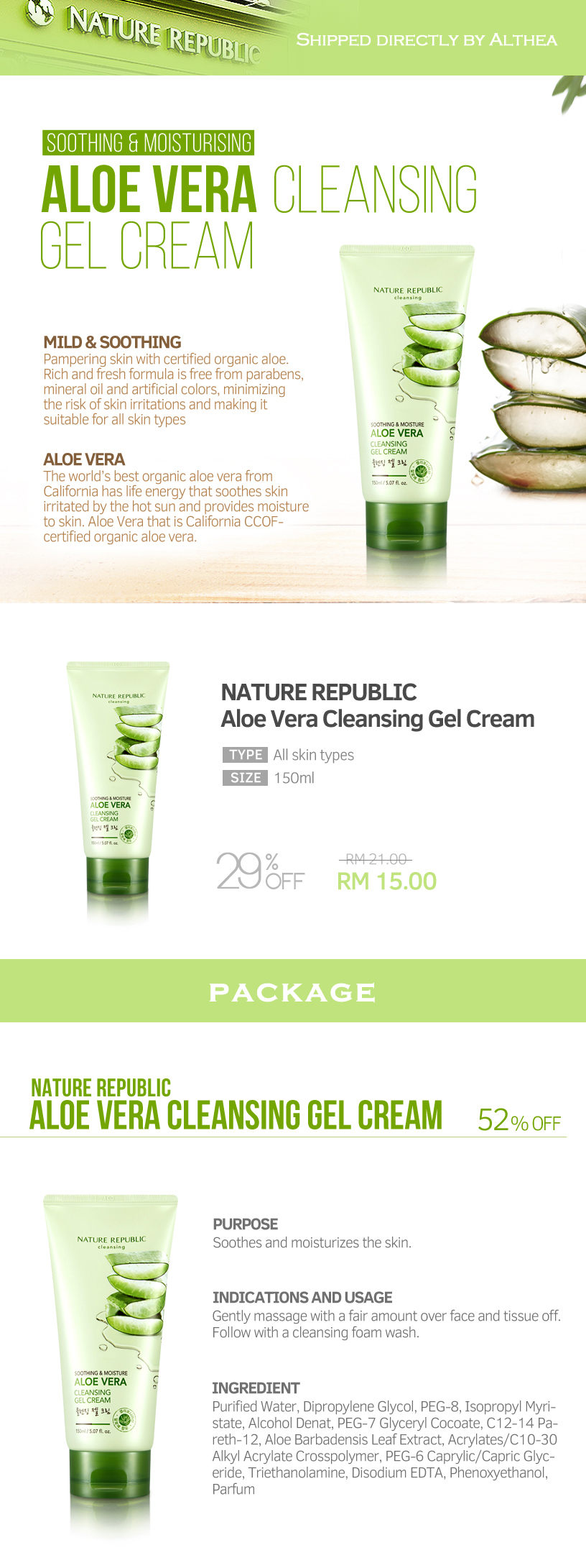 Buy Nature Republic Aloe Vera Cleansing Gel Cream 150ml At Althea K Beauty Jeju Fresh Shooting Details